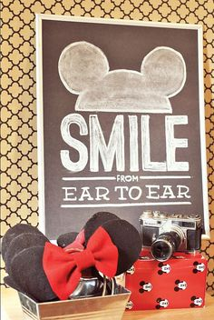 Mickey Ears & Chalkboard photo booth sign - Hudson's Vintage Mickey Mouse Third Birthday Party by One Swell Studio Or get a white board so everyone can write something on it and then take pictures Theme Mickey, Mickey Mouse Bday, Mickey Mouse Clubhouse Birthday, Mickey Y Minnie, Mickey Mouse Parties, Mickey Birthday, Mickey Party, 2nd Birthday Parties, Mickey Mouse Photo Booth