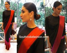 Kareena Kapoor in Raw Mango Kareena Kapoor attended an event in Bangalore wearing a black saree that has pink and red borders by Raw Mango paired with black full length blouse. Diamond earrings from Malabar Gold and Diamondsand a sleek low bun rounded out her look! South India Fashion