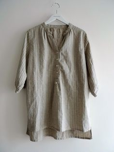 Linen Cotton Tunic in Blue Stripes