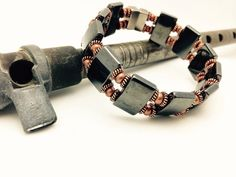 Unisex Hematite and Copper Bracelet  Magnetic by PineBranchDesigns