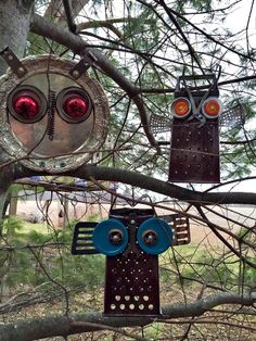 Found Object Owls 'Found object' owls to guard your garden.. Myra's Parliament of owls keep watch