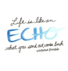 #Poster>  Life is like an echo .... what you send out comes back.  Chinese Proverb  #taolife
