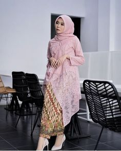 Pin Image by Memes Homorious Kebaya Lace, Kebaya Hijab, Kebaya Brokat, Kebaya Dress, Batik Kebaya, Kebaya Muslim, Batik Dress, Batik Fashion, Hijab Fashion