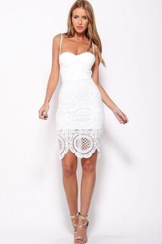 "BALMANIA Mischa ""Flora"" Crochet Laces White Dress"
