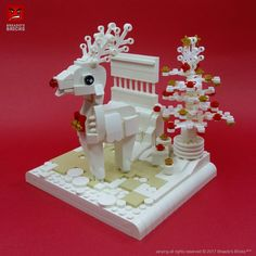 ~ Lego Mocs Holidays ~ Christmas ~ White Christmas Reindeer - with instructions Lego Christmas Ornaments, Lego Christmas Village, Kids Ornament, Christmas Tables, Harry Potter Advent Calendar, Lego Advent Calendar, Legos, Lego Winter, Lego Animals