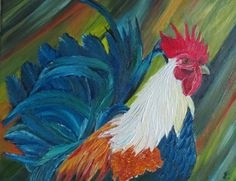 Rooster Painting animal painting oil by oilpaintingflowers on Etsy