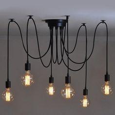 6 Heads Vintage Industrial Edison Ceiling Lamp Chandelier Pendant Light Fixture * Unbelievable item right here! : home diy lighting
