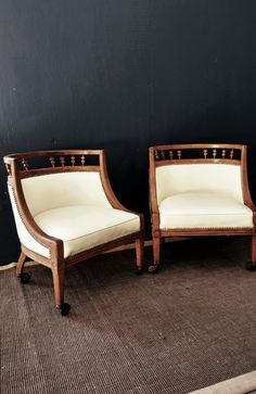 Pair Vintage Regency Barrel Chair