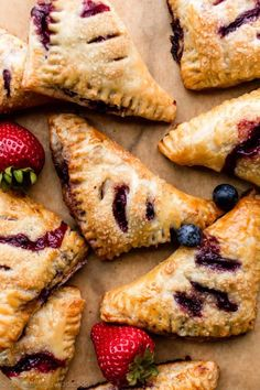 Learn how to make homemade rough puff pastry dough and turn it into delicious berry turnovers! Full tutorial and video available on Sally's Baking Sweet Desserts, Just Desserts, Delicious Desserts, Yummy Food, Homemade Desserts, Mini Desserts, Summer Desserts, Rough Puff Pastry, Puff Pastry Dough