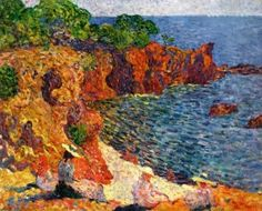 The Bompart Family on the Red Rocks of Agay in the Sun - Louis Valtat - The Athenaeum
