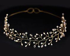 Bridal Crown Kristall Tiara Gold-Haar-Zusatz