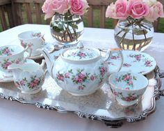 Aynsley Tea Set Tea for 2 Grotto Rose Teapot and Tea Cup Set with Creamer and Sugar Made in England 10 PIece Set by HouseofLucien