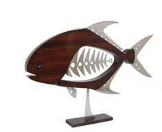 Permit 24 Wall or Freestanding by TheWoodenFishMarket on Etsy Metal Fish, Wood Fish, Wood And Metal, Metal Art, Fish Wall Art, Fish Sculpture, Fish Design, Wooden Crafts, Scroll Saw