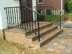 We Show The Way We Construct Steps Using Wall Stones With Photos & Descriptions - Newtown Square PA from Robert J. Patio Steps, Front Porch Steps, Brick Steps, Back Patio, Backyard Patio, Front Porches, Backyard Ideas, Garden Ideas, How To Install Pavers