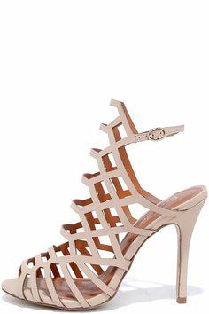 2eff3a053ca Vegan Footwear · Option One Nude Nubuck Caged Heels at Lulus.com! 4.25