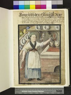 From: Die Hausbucher der Nurnberger Zwolfbruderstiftungen  The chef is in her kitchen and prepares food. In her right hand she has a cooking spoon, with her left hand she grabs the lid of a earthen pot, which stands in the fire on the stove along with another pot. Jars and various dishes are prepared on the two shelves on the walls, hanging on the wall several pans. 1661