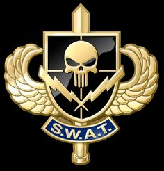 """SWAT (acronym for """"Special Weapons And Tactics"""") is a commonly used proper name for law. PJ was on the SWAT team Swat Police, Police Uniforms, Military Insignia, Military Art, Special Ops, Special Forces, Punisher, Tatuagem Em Latin, Police Life"""