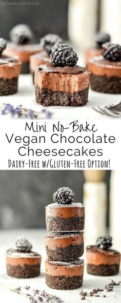 Mini No-Bake Vegan Chocolate Cheesecakes are a simple, elegant dessert that are easy and delicious! Vegan with a gluten-free option! Desserts Mini No-Bake Vegan Chocolate Cheesecake recipe! Desserts Crus, Desserts Keto, Brownie Desserts, Vegan Dessert Recipes, Mini Desserts, Dairy Free Recipes, Raw Food Recipes, Pork Recipes, Party Desserts