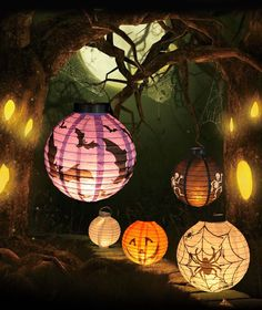 New Halloween LED Paper Pumpkin Hanging Lantern DIY - Holiday Party Decor Scary #Unbranded