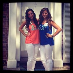 AGD instead of Delta Gamma. recruitment outfits.  Bright tank with white skinnies.