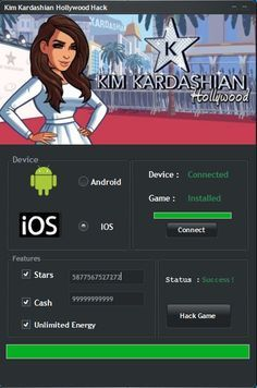 Kim Kardashian Hollywood Hack Tool (Android/iOS)   Kim Kardashian Hollywood Hack Tool(Android/iOS)  We want to present you an amazing tool calledKim Kardashian Hollywood Hack Tool. With ourKim Kardashian HollywoodTraineryou canget unlimited Stars Cash and Energy.Our soft works on allAndroidand iOS devices. It does not require any jailbreak or root. OurKim Kardashian HollywoodCheatis very easy to use. Just Connect your device select the device check the optionsyou want to add click on the…