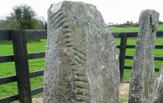 An ancient stone carved with the Ogham alphabet.