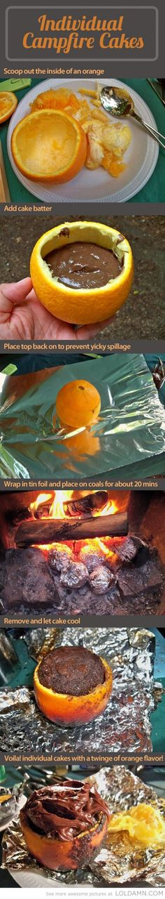 Campfire cake - oranges, fire and deliciousness… Campfire Cake, Campfire Food, Campfire Desserts, Campfire Breakfast, Campfire Recipes, Comidas Light, Good Food, Yummy Food, Delicious Recipes