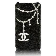 3D Swarovski Chanel Luxury Crystal Bling Black Case Cover for iphone 4 \  4s: Cell Phones & Accessories