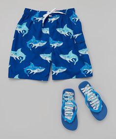 Look at this Blue Shark Swim Trunks