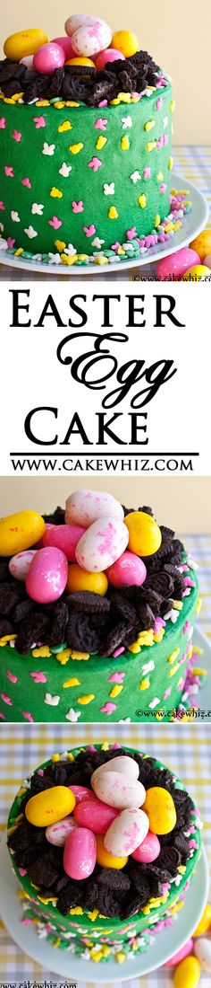 Use this cake decorating tutorial to learn how to make a quick and easy Easter egg cake. Great for kids Easter parties too and a great way to use up all the Easter egg candies. Holiday Desserts, Holiday Baking, Holiday Treats, Easter Egg Cake, Easter Cupcakes, Easter Food, Flower Cupcakes, Christmas Cupcakes, Easter Brunch