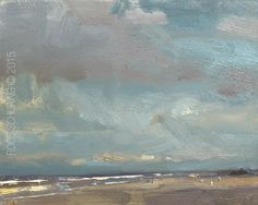 """New Blog Post: http://rosepleinair.com/is-there-rain-coming/ Seascape """"Is There Rain Coming?"""" The joys of pleinair painting:reading the skies. All those different starting points. Knowing what results in which kind of weather. You could say 'weather' is my hobby too.  SSP06-2015 SeascapeSpring""""Is There Rain Co... View More at: http://rosepleinair.com #PleinairPainting, #PleinairPainting, #Roosschuring, #Seascape"""