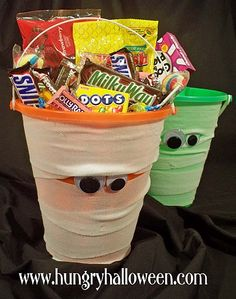Mummy Bucket... this would be great to make for older kids that don't trick or treat anymore