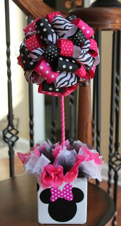 Hot Pink Ribbon Topiary in Zebra Hot Pink Dots and Black Dots Minnie Mouse Party with matching pot. $40.00, via Etsy.