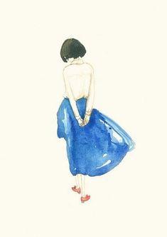 水彩手绘:小女孩的梦想 (7)