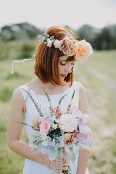 Floral print bridesmaid dress ideas and a bride in a flower crown wedding inspiration shoot. Flower Crown Bride, Flower Crowns, Bridesmaid Dresses Floral Print, Strapless Dress Hairstyles, Romantic Wedding Hair, Dress Wedding, Bridal Shoot, Wedding Hair Accessories, Bridal Looks