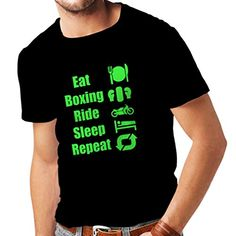 Pcos Diet Plan - T shirts for men Eat Boxing Ride Sleep Repeat - for fighters and riders motivational sports quotes (Small Black Green) * Check this awesome product by going to the link at the image. (This is an affiliate link) #PcosDietPlan