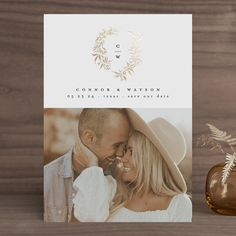 Save The Date Invitations, Invitation Cards, Wedding Invitations, Invites, Save The Date Photos, Save The Date Cards, Monogram Wreath, Photo Layouts, Foil Stamping