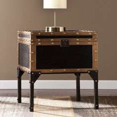 Vintage Travel Trunk End Table Storage Furniture Antique Style Industrial Bronze Storage Trunk, Table Storage, Storage Spaces, Trunk End Table, End Tables, Coffee Tables, Home Office, Black Trunk, Industrial Style Lighting