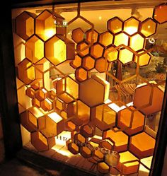 Hexagon shelving in Anthropologie, Moregeous Design Blog