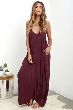 Visions of meadows, soft wind, and cattails are brought to mind by the Yours Tule Burgundy Maxi Dress! This elegantly simple Boho maxi is composed of lovely and lightweight woven fabric in a deep, burgundy hue. A relaxed-fit bodice falls from adjustable spaghetti straps and V neck. Hidden front pockets are an added convenience.