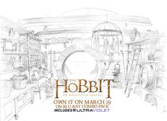 Behind The Scenes of The Hobbit: An Unexpected Journey: A pencil sketch of Bilbo's pantry in the Shire.