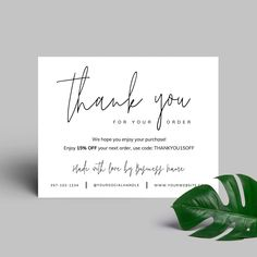 Printable Business Thank You Card Template Corjl Thank You Cards From Kids, Thank You For Order, Printable Thank You Cards, Thank You Card Template, Custom Thank You Cards, Thank You Note Cards, Thank You For Purchasing, Thank You Stickers, Wedding Thank You Cards