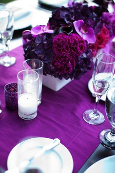 romantic purple red fuschia wedding flower centerpieces California wedding 4