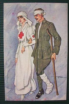 WW1 Red Cross Nurse Wounded Soldier Postcard | eBay
