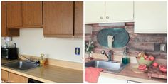 Annie Sloan Chalk Paint Cabinets | kitchen before and after - pallet wood backsplash