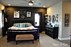 Master bedroom will be Benjamin Moore Stone House walls with a feature wall in Willow.  Black furniture
