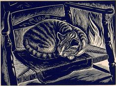 """Cats in Art and Illustration: """"Tabby"""" by Dorothy McEntee (wood engraving, 1930s)."""
