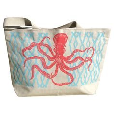 """Octopus 20"""" Tote in Coral"""