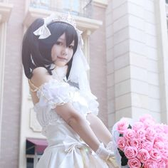 Lovelive / Love Live! School Idol Project Niko Nico Yazawa Cosplay White Satin Wedding Dress Costume