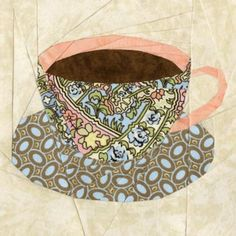 Pattern for purchase. English Teacup Quilt Block Pattern